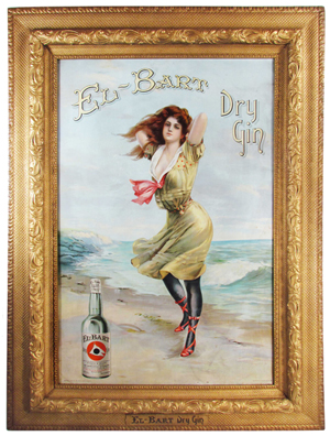 El Bart Gin tin sign with original frame, copyright 1905 by Wilson Distilleries. Price realized: $51,300. Showtime Auction Services image.