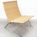 Fritz Hansen Denmark for Knoll Studio wicker and stainless steel lounge chair. Stephenson's image