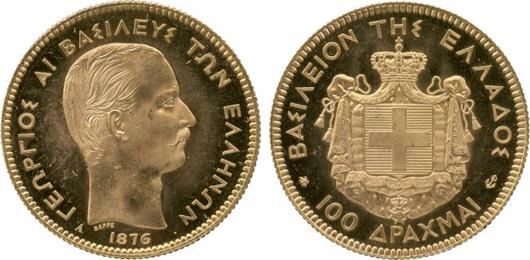 George I of Greece gold 100-drachmai, 1876. Estimate: £50,000-£60,000. A.H. Baldwin & Sons Ltd. image.