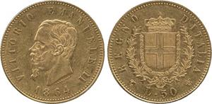 Extremely fine 1864 gold 50-lire, struck in Torino under King Vittorio Emanuele II. Estimate £50,000-£60,000. A.H. Baldwin & Sons Ltd. image.