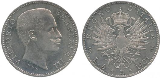 Italy silver 5-lire 1901 depicting Vittorio Emanuele III. Estimate: £25,000-£30,000. A.H. Baldwin & Sons Ltd. image.