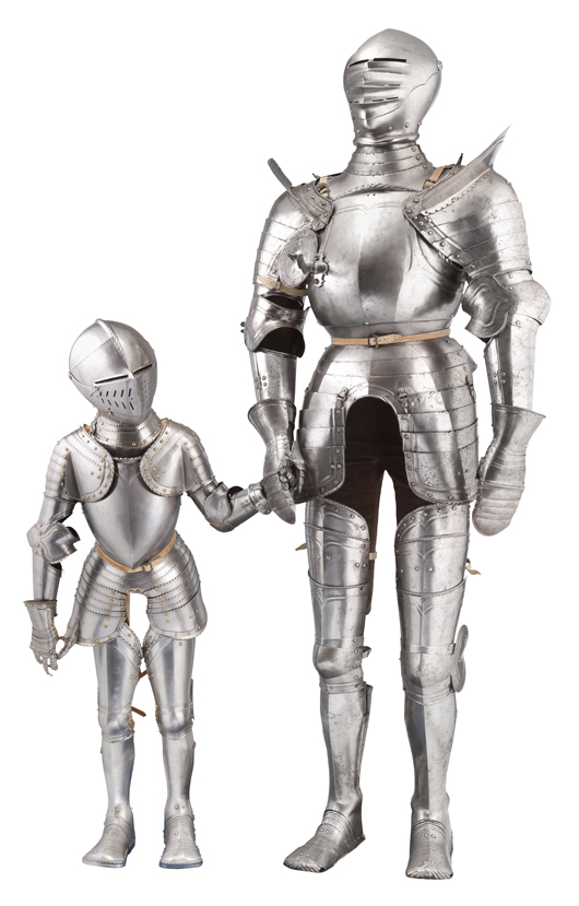 19th-century boy's armor in 16th-century German style, ex collection of William Randolph Hearst. The tall armor is a composite South German cap-a-pie field armor, partly Nuremberg, circa 1540.  Est. £15,000- £20,000. Thomas Del Mar image