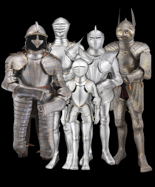 Grouping of European armor from 16th-19th centuries, with estimates from £5,000 to £30,000. Thomas Del Mar image