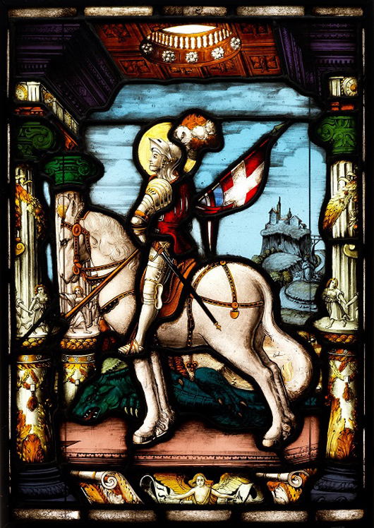 A German stained glass panel, F.X Zettler, Munich, 1920s, depicting an armored knight on horseback under a Renaissance arch, inscribed 'Zettler' lower right, 51 x 36 cm/20 x 14in, est. £300-£400. Thomas Del Mar image