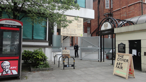 The inconspicuous entrance to The Other Art Fair, one of London's most adventurous contemporary art fairs. Image Auction Central News.