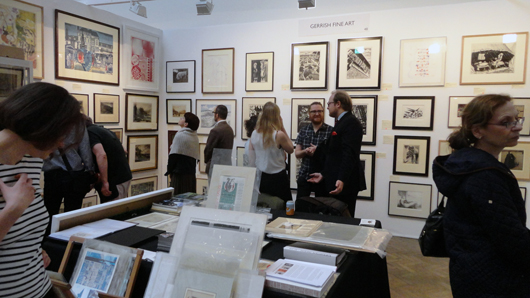 The stand of fine art print dealers Gerrish, who were doing a solid trade in prints by World War I artists at the London Original Print Fair in April. Image Auction Central News.