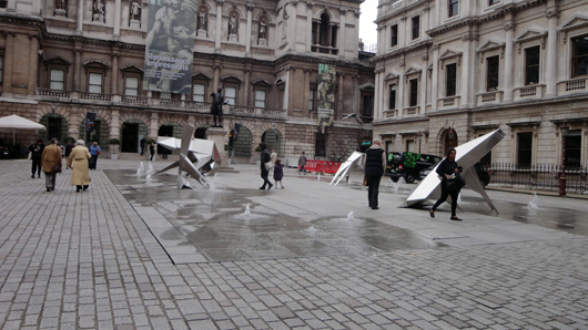 Steel beast sculptures by the late British artist Lynn Chadwick on the forecourt of the Royal Academy. This year is the centenary of Chadwick's birth. Image Auction Central News.