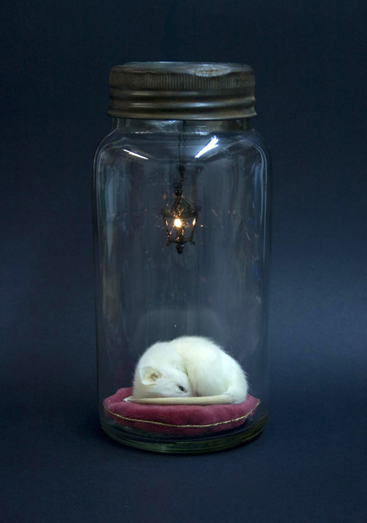'Little Lives Dream,' a limited edition taxidermy work by Rachel Ann Stevenson, seen at The Other Art Fair in London in April. Image Auction Central News.