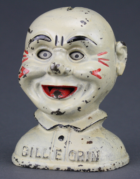 One of the finest known examples of J. & E. Stevens' Bill E. Grin bank. RSL Auction Co. image