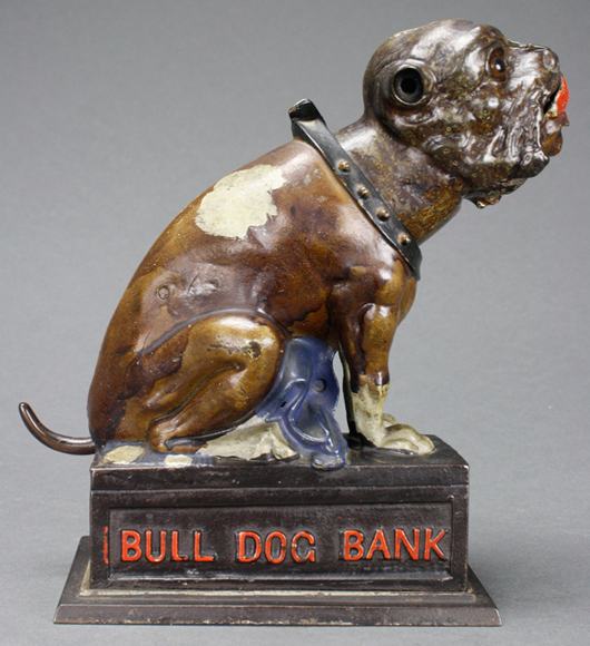 A gorgeous example of the blue-blanketed Seated Bulldog, made by J & E. Stevens. RSL Auction Co. image