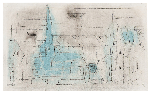This angular watercolor by Lyonel Feininger, 1955, will appear in the Kaupp Modern sale. Photo courtesy Auktionshaus Kaupp.