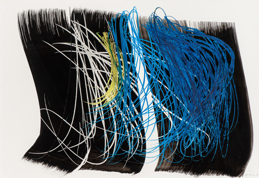 Spontaneous and brushy, with vivid color, is this typical pastel and ink work by Hans Hartung. Photo courtesy Auktionshaus Kaupp.