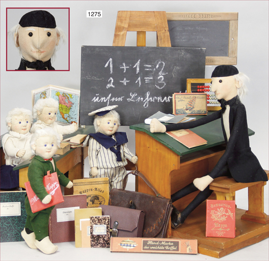 The rare School set by Steiff with its delightful tiny details like a functional abacus and a chalkboard. Photo courtesy Ladenburger Spielzeugauktionen.