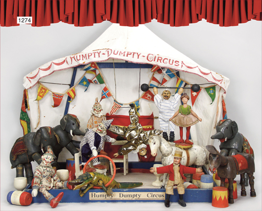 Everyone loves a circus. This one, by toymaker Schoenhut, finished at 8,000 euros. Photo courtesy Ladenburger Spielzeugauktionen.