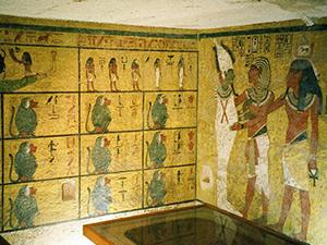 Painted walls in the burial chamber of KV62 (Tutankhamun's Tomb) in Egypt's Valley of the Kings. Photo taken by Hajor, December 2002, licensed under the Creative Commons Attribution-Share Alike 3.0 Unported license.