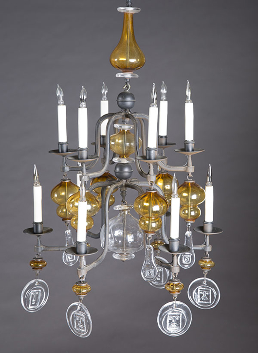 Erik Hoglund chandelier, circa 1960s, Boda Nova Glassworks, cast glass with Alex Stromberg Ironworks black wrought iton, est. $2,000-$3,000. Quinn's Auction Galleries image