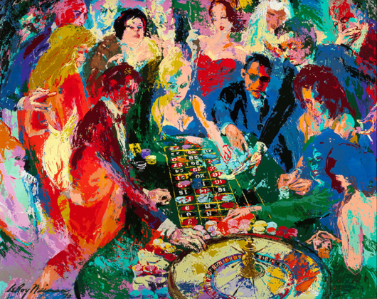 Leroy Neiman, (American, 1921-2012), 'Roulette II,' 1970, oil on Masonite, 48 x 60 inches, signed and dated. Estimate: $100,000-$150,000. Heritage Auctions image.