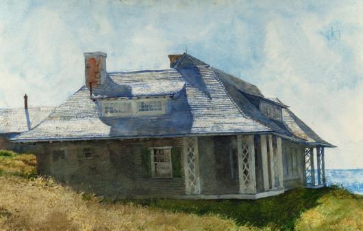 Jamie Wyeth (American, b. 1946), 'Partridge House, Monhegan Island, Maine,' 1969, watercolor on paper laid on board. Estimate: $70,000-$100,000. Heritage Auctions image.