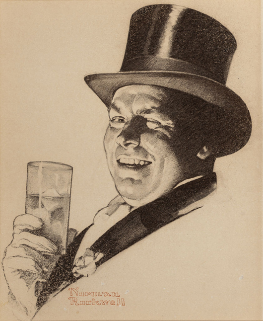 Norman Rockwell (American, 1894-1978), 'Have You Knowing Eyes?,' Schenley Cream of Kentucky whiskey advertisement, 1937, charcoal on paper. Estimate: $30,000-$50,000. Heritage Auctions image.
