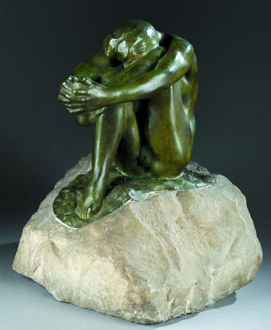 Auguste Rodin (French, 1840-1917), circa 1905 lifetime casting 'Le Desespoir' (Despair), green-patinated bronze and carved marble, signed 'A. Rodin' on top of base with raised 'A. Rodin' on underside of bronze, 13¾in high x 12in wide x 11in long. Authenticated by Comite Rodin, Paris. Est. $60,000-$80,000. Quinn's Auction Galleries image