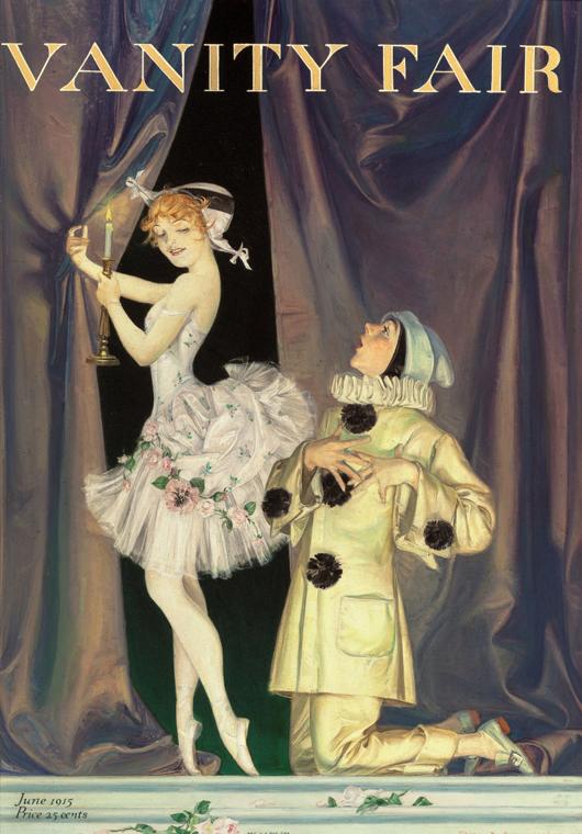 Frank Xavier Leyendecker (American, 1877-1924), 'Pierrot and Columbine,' 'Vanity Fair' magazine cover, June 1915, oil on board. Estimate: $20,000-$30,000. Heritage Auctions image.