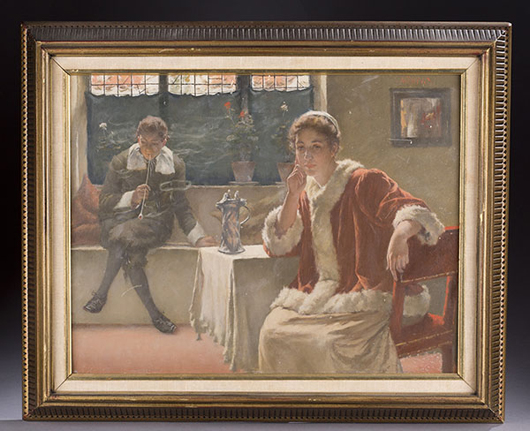 Walter MacEwen (NY/Illinois/France, 1860-1943), interior scene of pensive woman with man smoking in background, 18½in x 22in, est. $4,000-$6,000. Quinn's Auction Galleries image