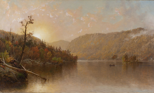 George W. Waters (New York, 1832-1912), 'Sunset Morse Lake, Adirondacks,' circa 1882, 28½ x 40¾ in, est. $7,000-$9,000. Quinn's Auction Galleries image