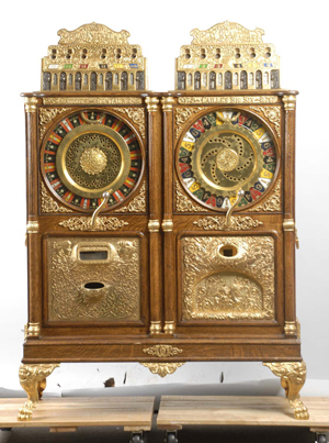 Caille double-upright slot machine combining 5-cent Centaur and 25-cent Big Six models, $90,000. Morphy Auctions image