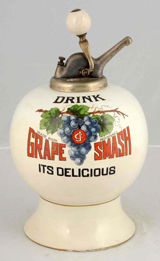 Grape Smash syrup dispenser, $20,400. Morphy Auctions image