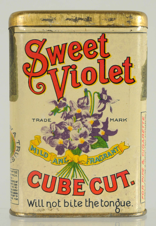 Sweet Violet Tobacco vertical pocket tin, $6,600. Morphy Auctions image