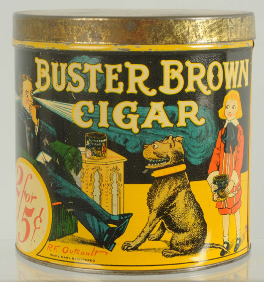 Buster Brown Cigar tin, $14,400. Morphy Auctions image