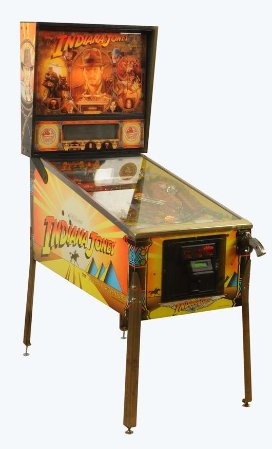 1993 Williams Indiana Jones pinball machine, $6,600. Morphy Auctions image