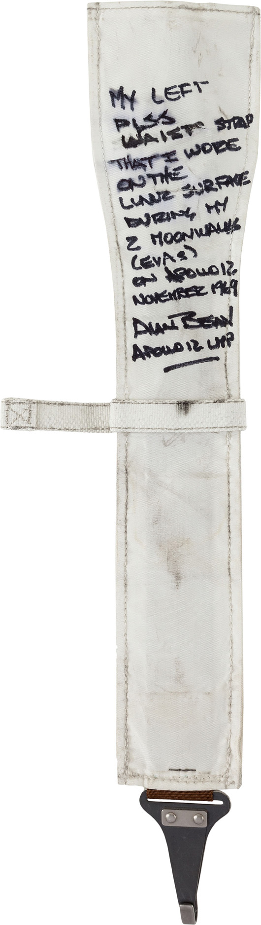 Apollo 12 lunar module flown and surface-used PLSS strap directly from the personal collection of mission lunar module pilot Alan Bean, certified and signed. Estimate: $60,000-$75,000. Heritage Auctions image.