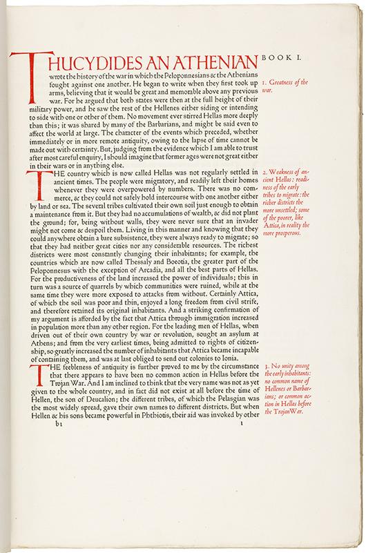 Thucydid's 'History of the Peloponnesian War,' Ashendene Press. PBA Galleries image.
