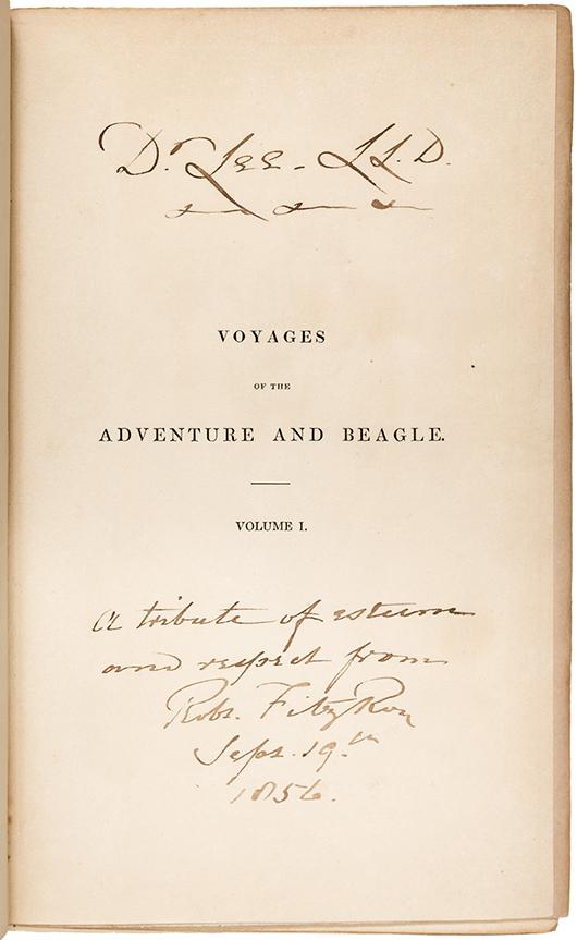 Charles Darwin narrative, three volumes, first edition. Estimate: $30,000-$50,000. PBA Galleries image.