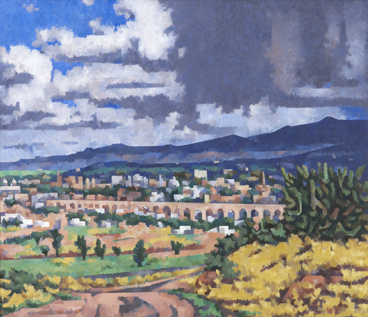 Loren Mozley, 'View of Queretaro.' oil on canvas, signed lower right, 'Mozley,' canvas: 28 x 44 3/4 inches. Estimate: $30,000-$50,000. Price realized: $53,125. Dallas Auction Gallery image.