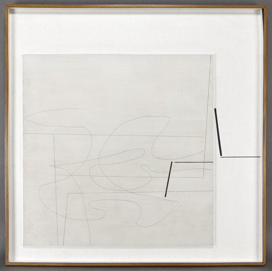 Victor Pasmore, 'Linear Motif,' relief painting with gravure and oil on plastic and panel, 1967, panel: 48 x 48 inches. Estimate: $80,000-$120,000. Price realized: $158,500. Dallas Auction Gallery image.