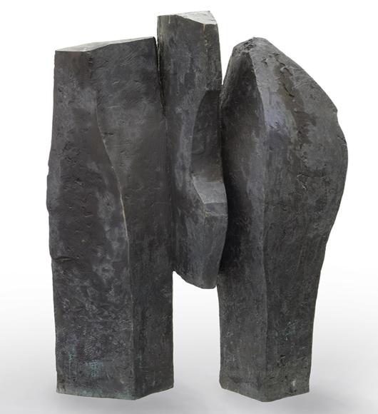 Dimitri Hadzi, 'Thebes III,' bronze sculpture, 1980, 65 1/2 x 44 inches. Estimate: $8,000-$12,000. Price realized: $46,875. Dallas Auction Gallery image.