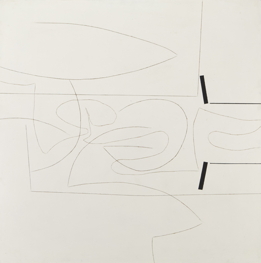 Victor Pasmore, 'Linear Motif' gravure and oil on plastic and panel, 1966-1967, initialed, signed and dated en verso, 'VP Victor Pasmore 1967,' panel: 48 x 48 inches. Estimate: $80,000-$120,000. Price realized: $146,500. Dallas Auction Gallery image.