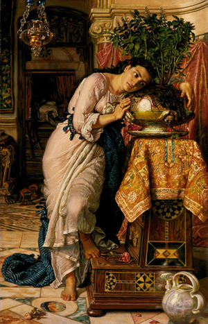William Holman Hunt (English, 1827-1910), 'Isabella and the Pot of Basil,' completed in 1868 and based on a scene from a John Keats poem. The Delaware Art Museum has consigned the painting to auction at Christie's.