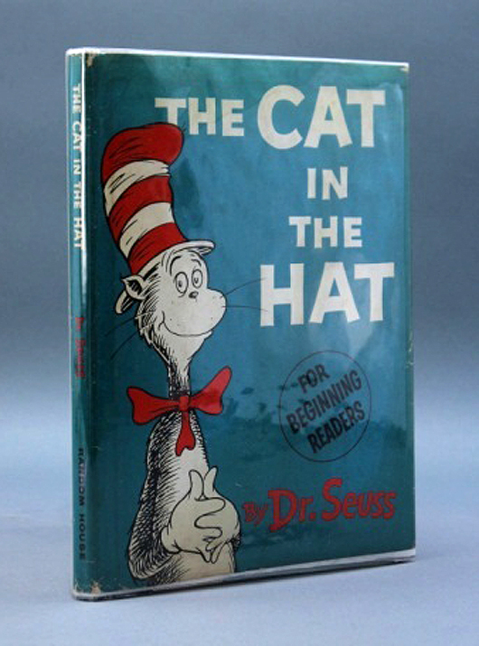 First edition copy of the Dr. Seuss children's classic The Cat in the Hat (1957) with first-state dust jacket (est. $400-$700). Waverly Rare Books image