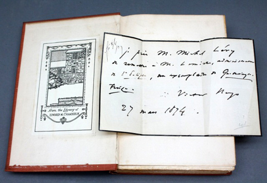 Ten-volume set, Works of Victor Hugo, with an autographed note signed by Hugo and dated 1874 (est. $300-$500). Waverly Rare Books image