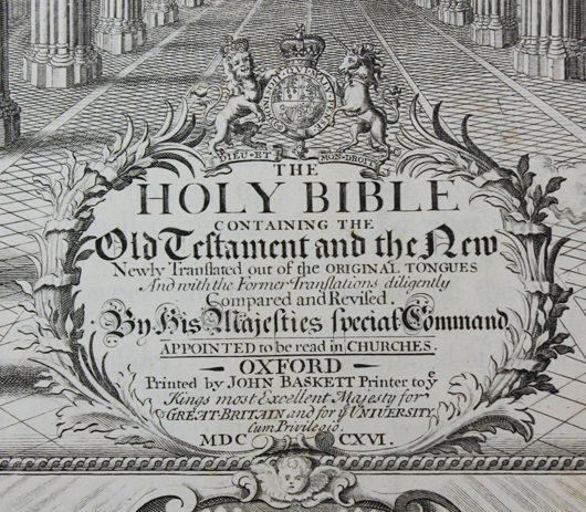 """Two-volume set of the """"Vinegar Bible"""" (1717), so-named because of a misprint in Luke 20 (est. $2,000-$3,500). Waverly Rare Books image"""