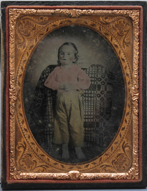 One of a pair of mid-19th-century 'memento mori' (or mourning) daguerreotypes, showing deceased children (est. $200-$400). Waverly Rare Books image