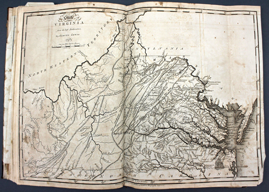 General Atlas by Mathew Carey, printed in Philadelphia circa 1796 and featuring more than 40 maps (est. $3,000-$5,000). Waverly Rare Books image