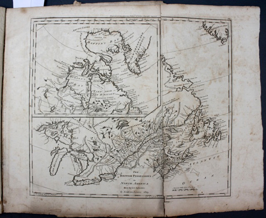 American Atlas by Mathew Carey, printed in Philadelphia in 1809 and featuring 25 maps (est. $800-$1,200). Waverly Rare Books image