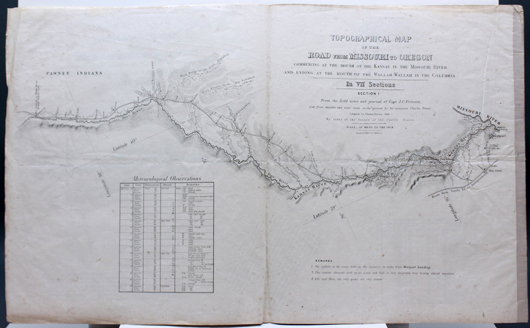 J. C. Fremont's Topographical Map of the Road from Missouri to Oregon printed in 1846 (est. $4,000-$6,000). Waverly Rare Books image
