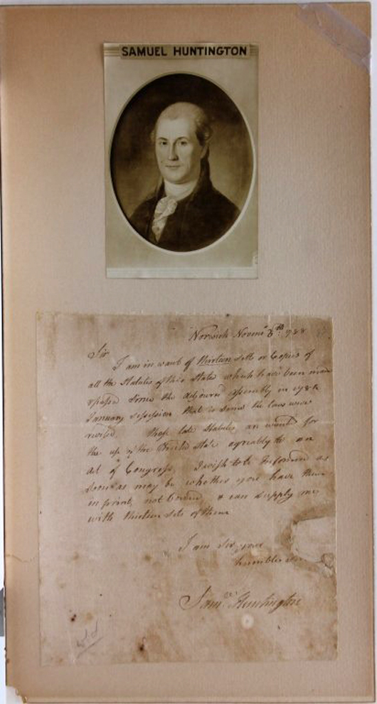 Autographed letter signed by Samuel Huntington (1731-1796), a signer of the Declaration of Independence (est. $600-$900). Waverly Rare Books image