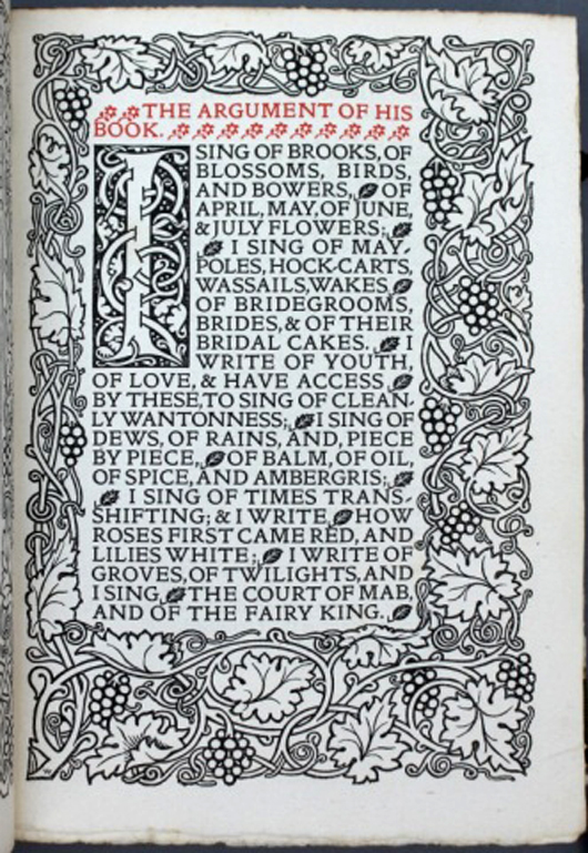 This 1895 collection of poems by Robert Herrick is desirable because it was published by William Morris (est. $800-$1,200). Waverly Rare Books image