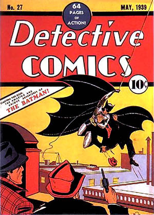 Cover of 'Detective Comics' No. 27 (May 1939), in which Batman makes his first comic-book appearance. Art by Bob Kane. Source: The Grand Comics Database via Wikipedia. All DC Comics characters and the distinctive likeness(es) thereof are Trademarks & Copyright © 1939 DC Comics, Inc. ALL RIGHTS RESERVED. It is believed that the use of low-resolution images of the cover of a comic book to illustrate the issue of the comic book in question qualifies as fair use under the terms of US Copyright Law. Note: This image does not depict the comic book that was purchased by Anthony Chiofalo.